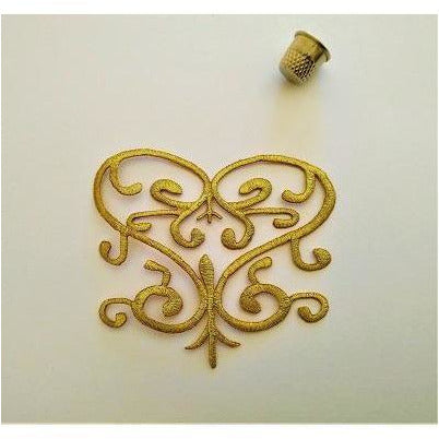 EMB-039: Gold love heart applique