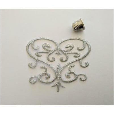 EMB-039: Silver love heart applique