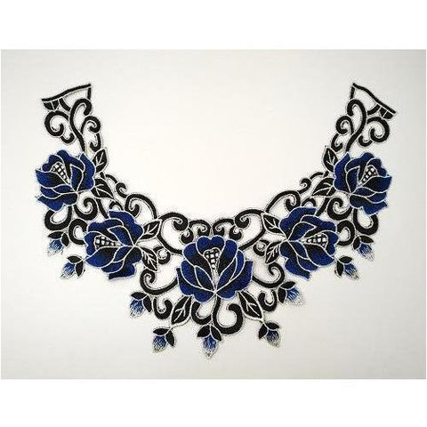 LA-039: Blue, black and white floral neckline
