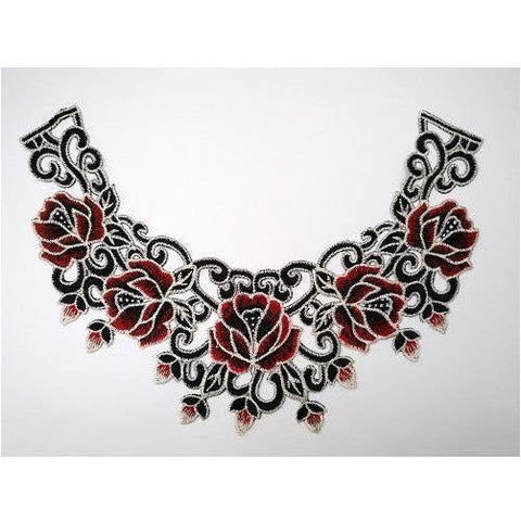 LA-039: Red, black and white floral neckline