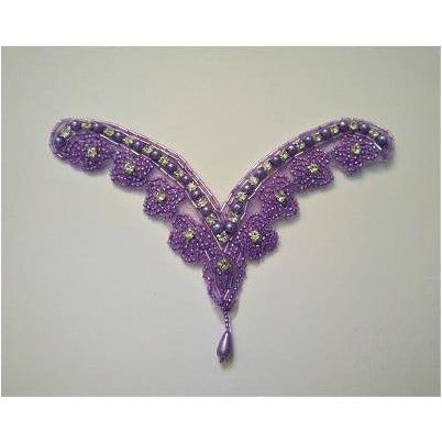 A-082: Lilac bead and rhinestones with bead drop