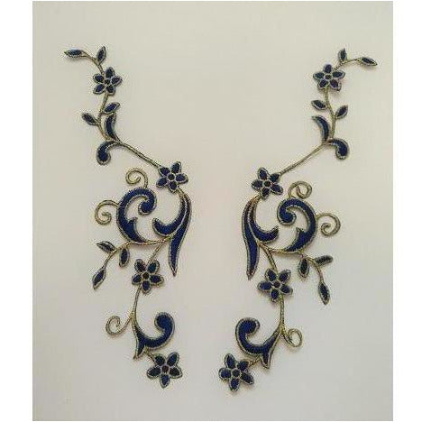 EMB-017: Royal Blue Floral embroidered applique pair