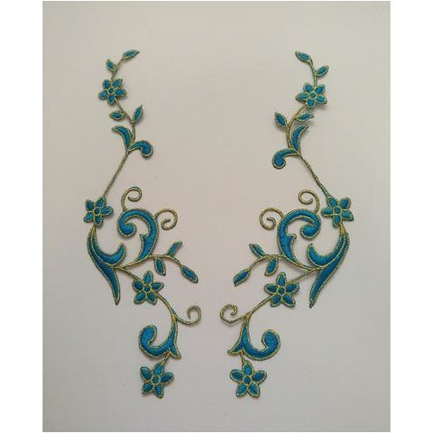 EMB-017: Turquoise Floral embroidered applique pair