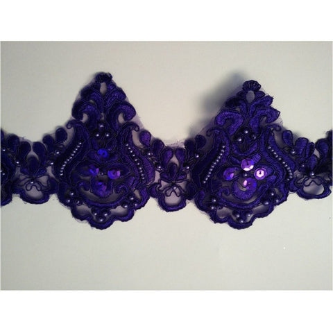 LT-001 Deep Purple sequin and bead lace trim.