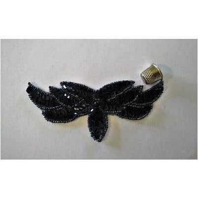 A-111: Black sequin and bead applique