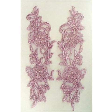 LA-004 Lilac Chiffon lace applique pair
