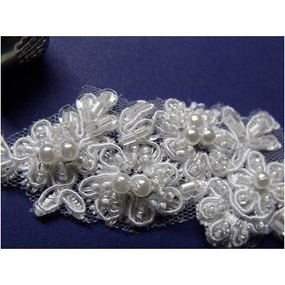 LA-006 small ivory beaded lace applique