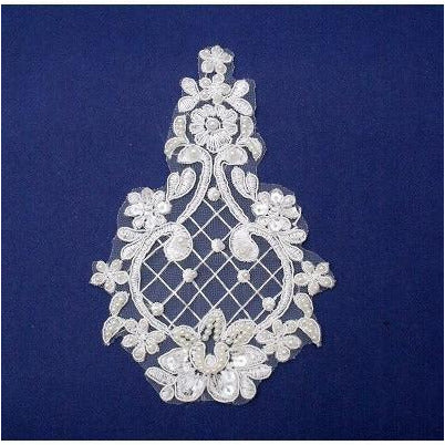 LA-023 Ivory beaded lace applique