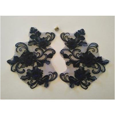 LA-047:Floral and swirl pair, Navy