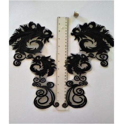 LA-055: Large black applique pair