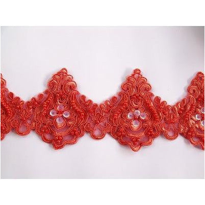 LT-001 Deep Apricot sequin and bead lace trim.