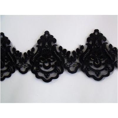 LT-001 Black sequin and bead lace trim.