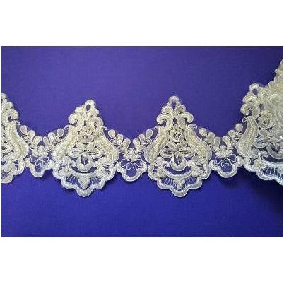 LT-001 Ivory sequin and bead lace trim.