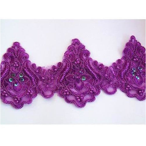 LT-001 Purple sequin and bead lace trim.