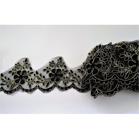 LT-025: Black and gold lace trim