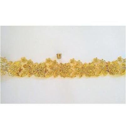 LT-033: Gold sequin floral trim