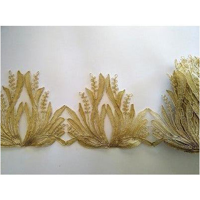 LT-035: Gold feather look lace trim