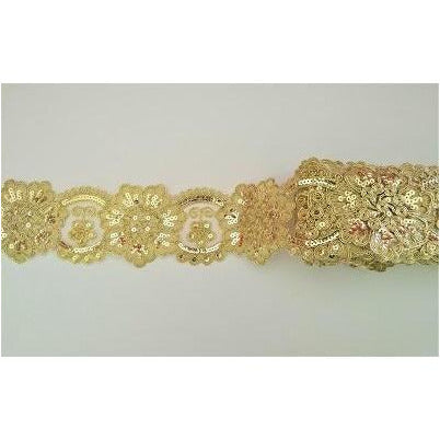 LT-041: Gold sequined lace trim