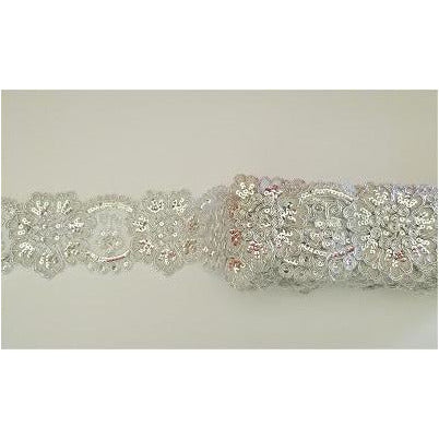 LT-041: Silver sequined lace trim