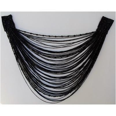 F-017, Black fringe and bead looped applique.