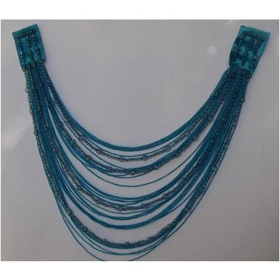 F-017, Turquoise fringe and bead looped applique.