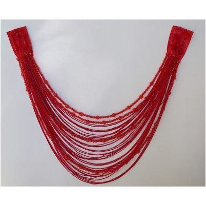 F-017, Red fringe and bead looped applique.