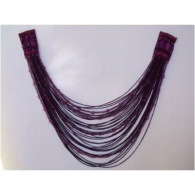 F-017, Grape fringe and bead looped applique.