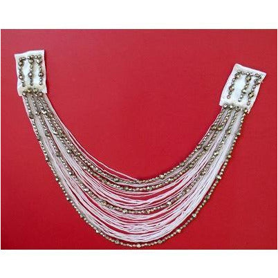 F-017, White and silver fringe and bead looped applique