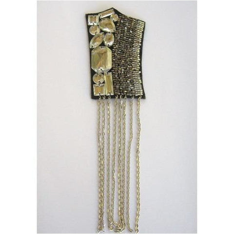 F-015, Felt back applique with chain fringe