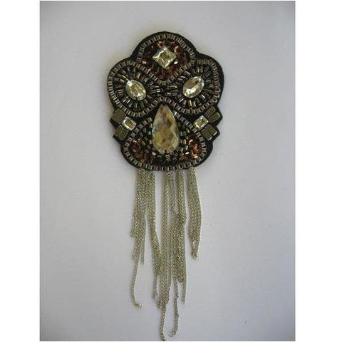F-016, Felt back applique with chain fringe