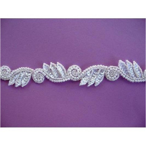 T-015 white crystal leaf and swirl trim
