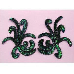P-018 Emerald iris, sequin and bead costume pair