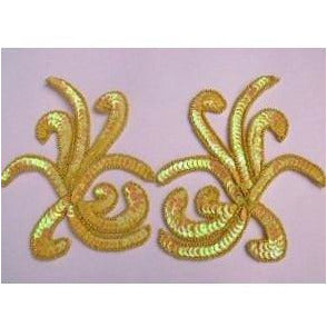 P-018 Yellow iris sequin and bead costume pair