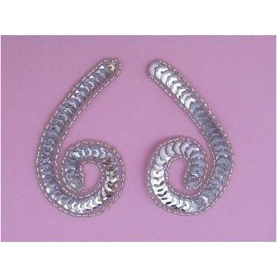 P-026 Silver sequin and bead small squiggle pair