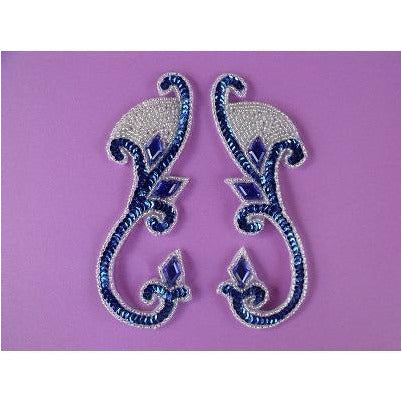 P-033 Blue sequin and jewel with silver bead pair.