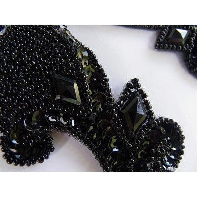 P-033 Black sequin, bead and jewel pair