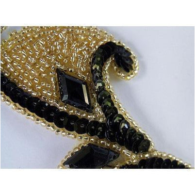 P-033 Black and gold sequin, bead and jewel pair