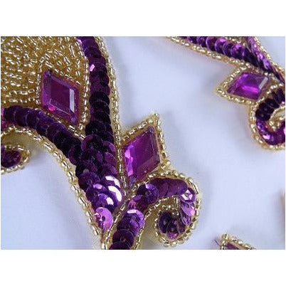 P-033 Purple and gold sequin, bead and jewel pair