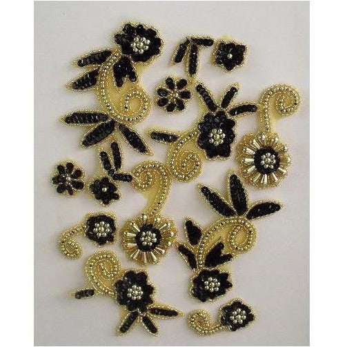 P-036 Black and Gold flower spray pair.