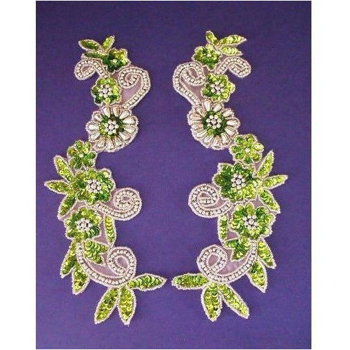 P-036 Lime and Silver flower spray pair