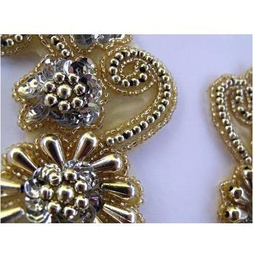 P-036 Silver and gold flower spray