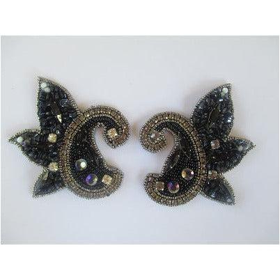 P-042 Small black scalloped pair
