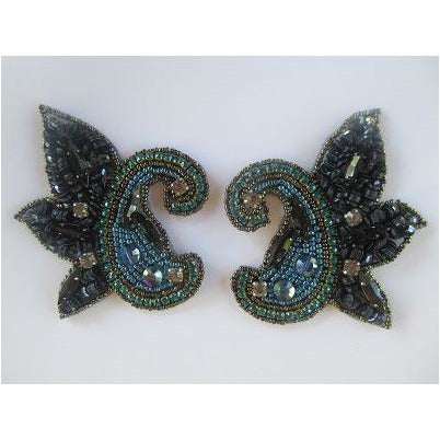P-042 small blue scalloped pair