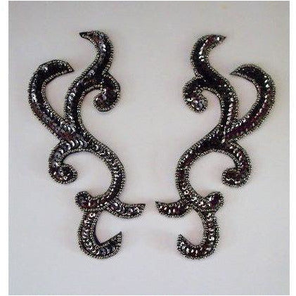 P-044 Dark Metallic Pewter sequin and bead pair