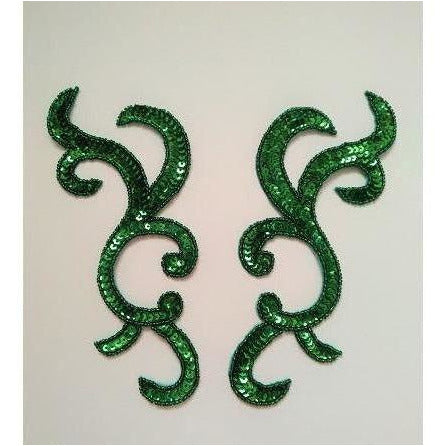 P-044 Green sequin and bead pair