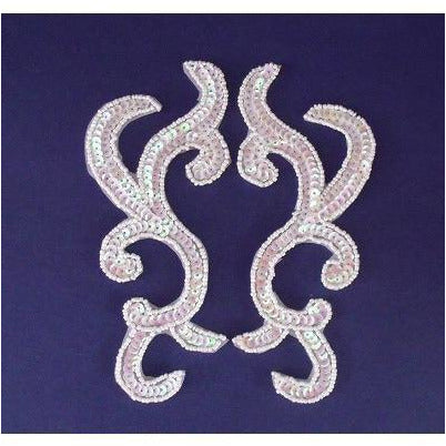 P-044 White iris sequin and bead pair