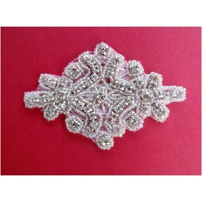 R-145: Silver bead and rhinestone applique
