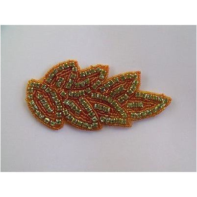 R-100 Topaz and Orange Rhinestone Applique