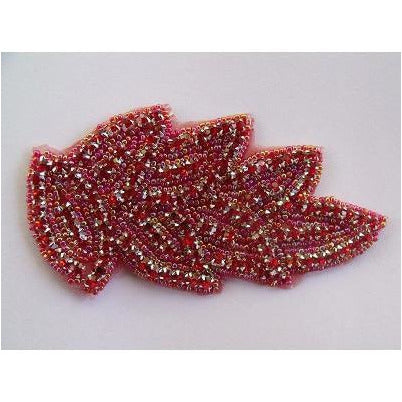 R-100 Red and Pink Iris Rhinestone Applique