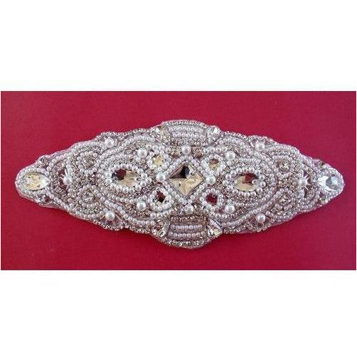 R-102 Rhinestone and Pearl bead applique